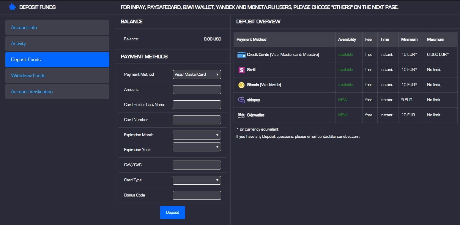 ArcaneBet payment options